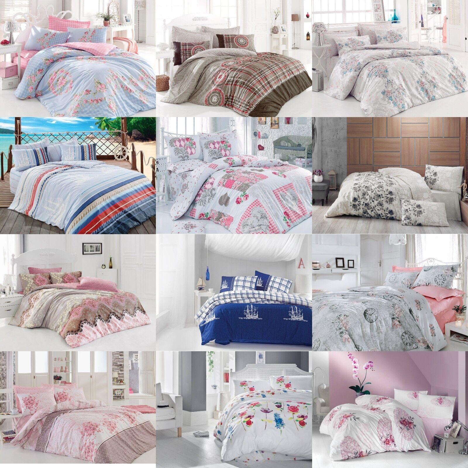 Floral Duvet Cover 100% Cotton Soft Bedding Set Reversible Queen King