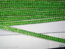 2strip GREEN iron-on hotfix rope reel diamante crystal