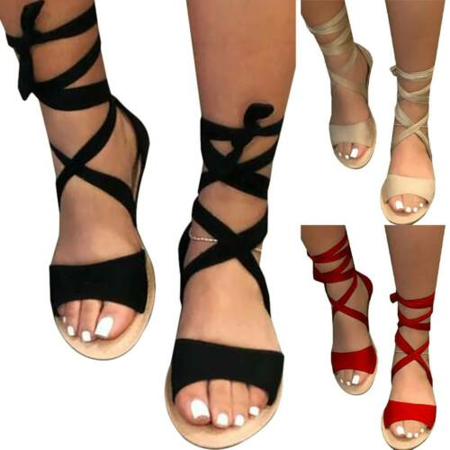 Damen Sandalen Knöchelriemen Schnüren Espadrilles Sommer Casual Flache Schuhe