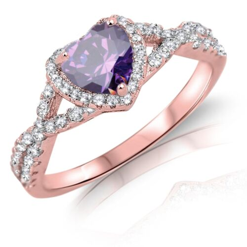 Heart Cut Promise Infinity Celtic Birthstone Rose Gold Sterling Silver Ring