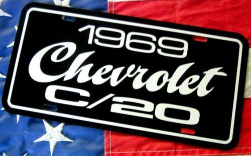 1969 Chevrolet C//20 pickup truck license plate tag 69 Chevy C-20 three quarter