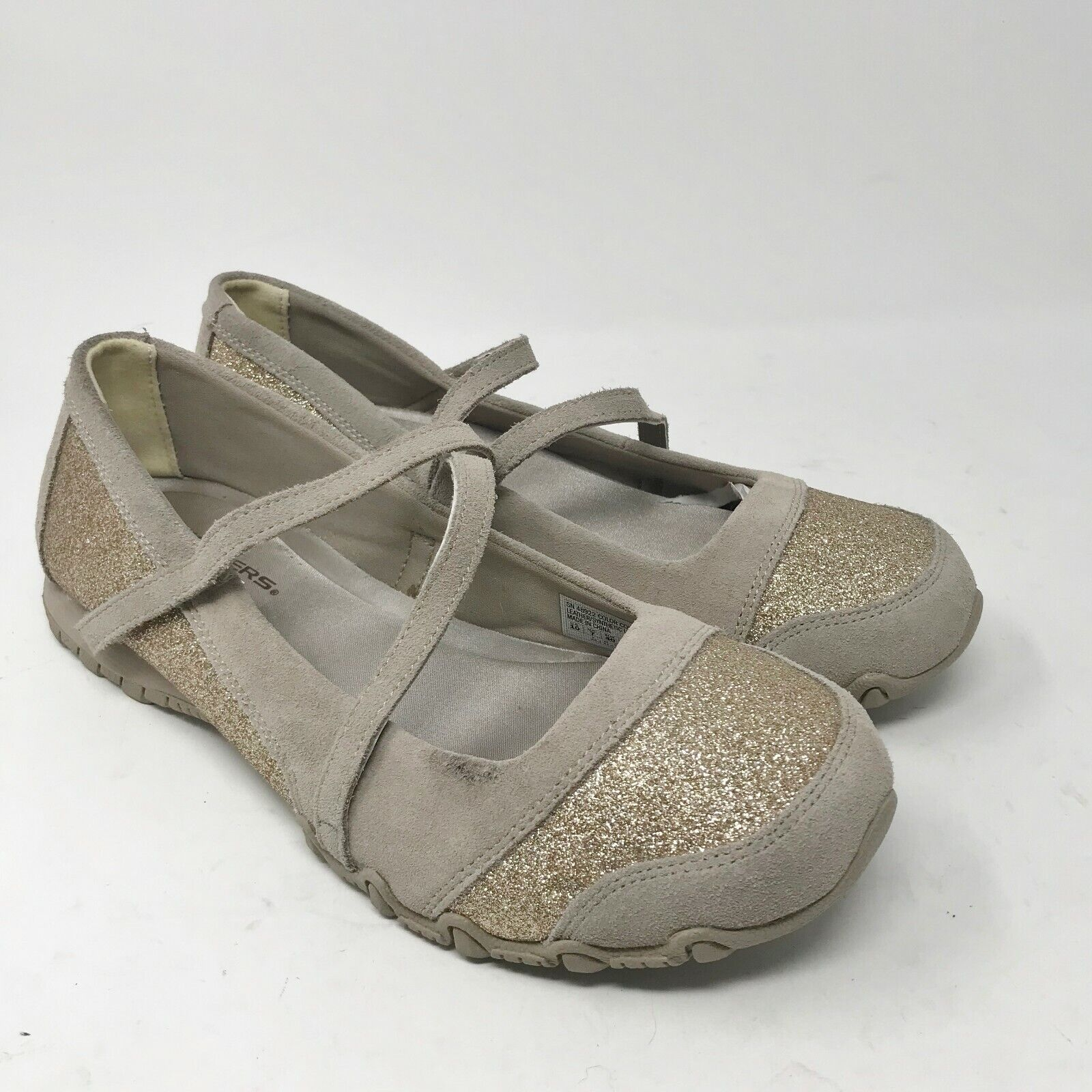 Sketchers Woman's Shoes sz 10 Suede Leather Gold Flats Relaxed Fit Memory Foam