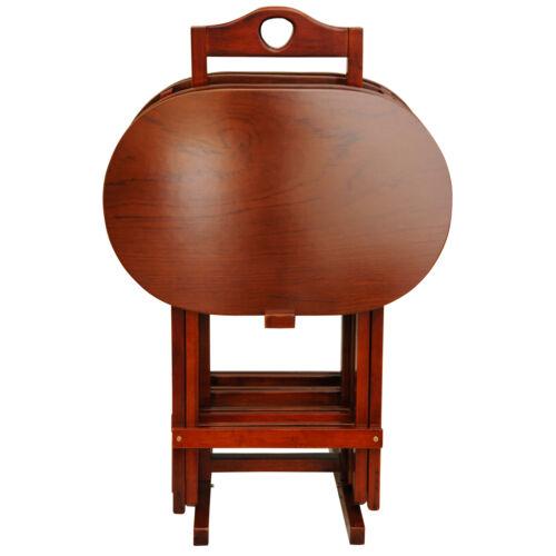 Oriental Furniture Rosewood TV Tray Set Honey