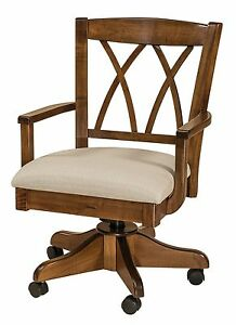 Amish Alexis Upholstered Arm Office Desk Chair Solid Wood Rolling