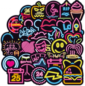 50PCS Neon Sign Stickers Bomb Graffiti Decal Pack Laptop Car Luggage Skateboard