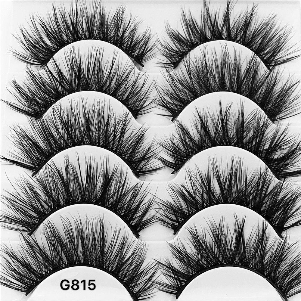 SKONHED 3D Mink Eyelashes 5 Pairs Natural False Long Thick H