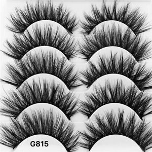 5Pair-3D-Mink-False-Eyelashes-Wispy-Cross-Long-Thick-Soft-Fake-Eye-Lashes-UK-RR