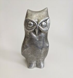 Vintage MCM Cast Aluminum Metal Owl Sculpture Signed Hiselton Canada and numbered 275