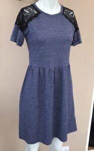 Topshop Lace Skater Dress Size 6 Blue Black Shoulder Floral Tee T ... 3887798ce