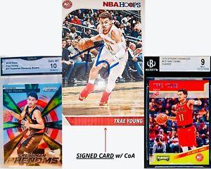 SIGNED-Trae-Young-NBA-Hoops-Card-2018-Panini-Prizm-amp-Panini-Chronicles-RC