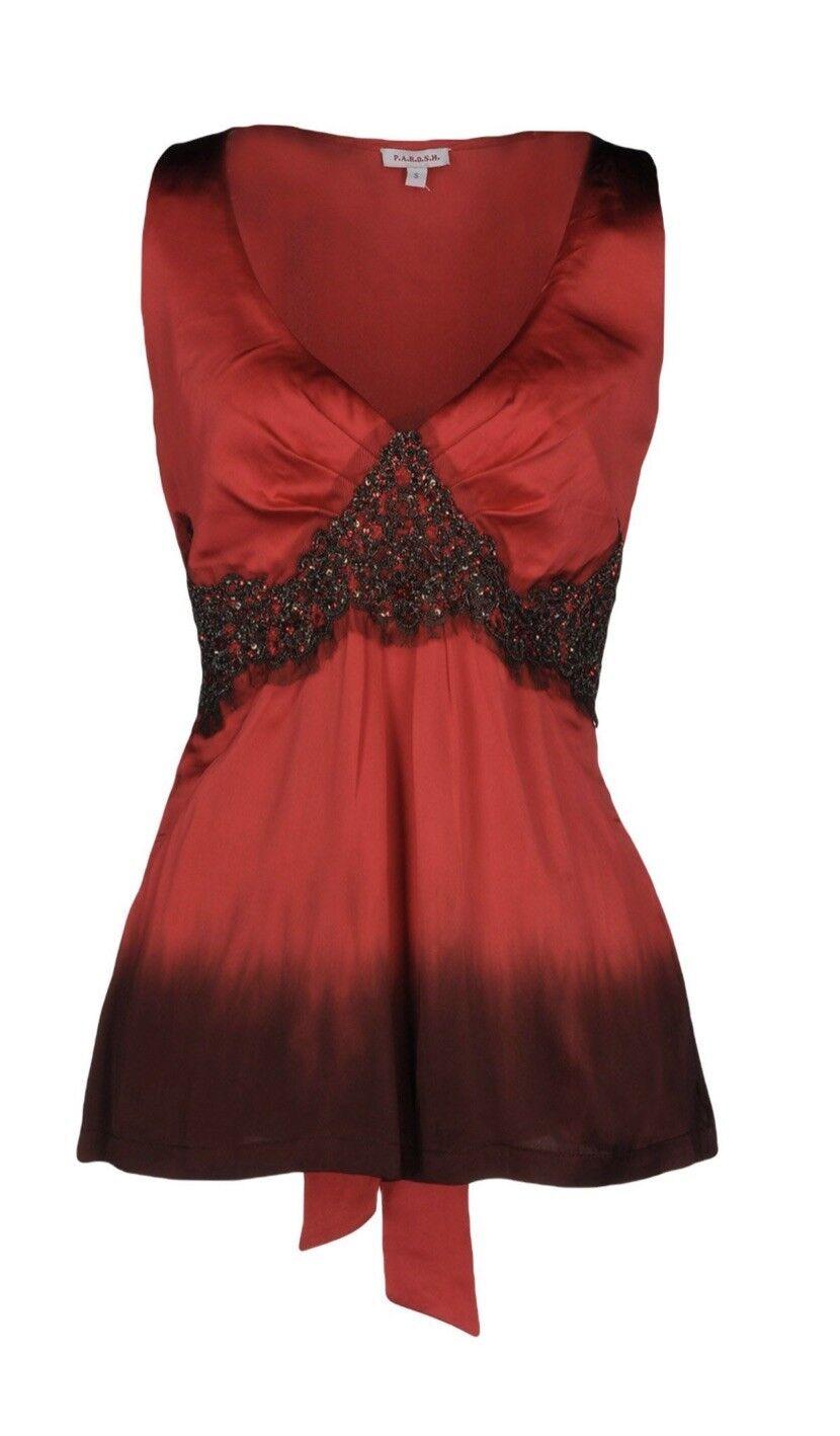 P.A.R.O.S.H. Silk Top Red Size L Parosh