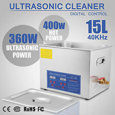 Ultrasonic Cleaner 15 L Liter Industry Heated Heater W/ Timer Jewelry Cleaning
