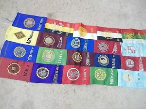 Sewn Sheet of 20 Old University & Country Tobacco Silk or Felt Tags Lot A