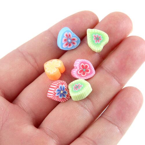50pc mezclados con flores estampadas arcilla polimérica en forma de corazón encanto granos flojos 7*7mm