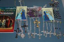 #23 SET SAN BENITO ABAD rosarios+collares+colgante+libro book 24 items FE