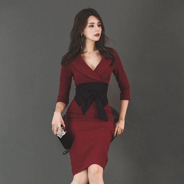 731fa6bd8bb7 Elegante vestito abito tubino rosso rosso rosso nero maniche aderente slim  morbido 4732 3de66d