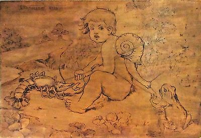 Antique Original Pyrography Drawing - Germany/Austria - Signed c 1880 - 1890