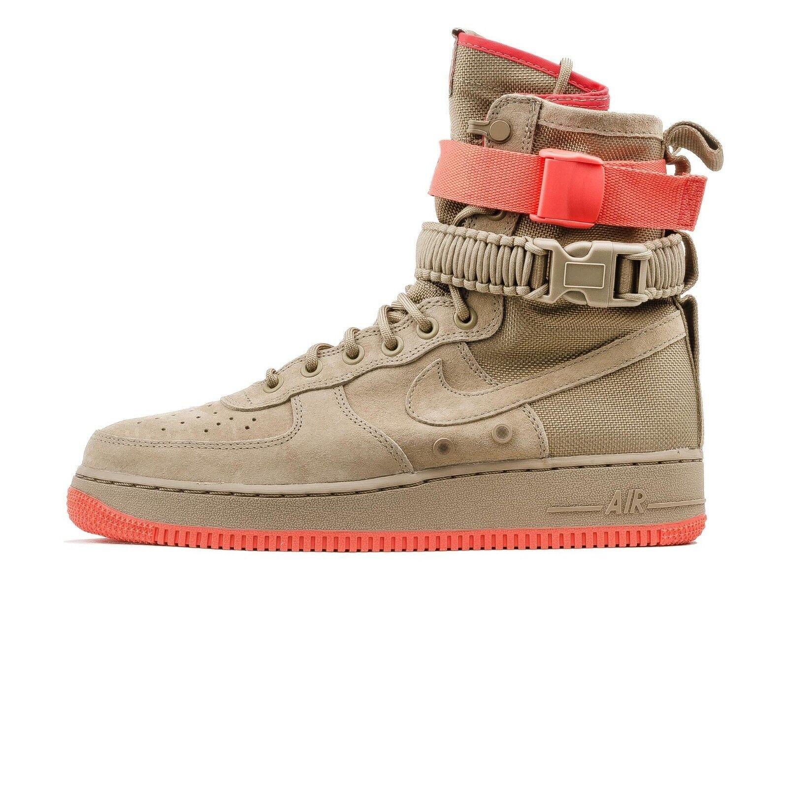 "NEW 864024 205 Men's Nike SF-AF1 ""Triple Black"" Shoe !! KHAKI/KHAKI-RUSH CORAL"
