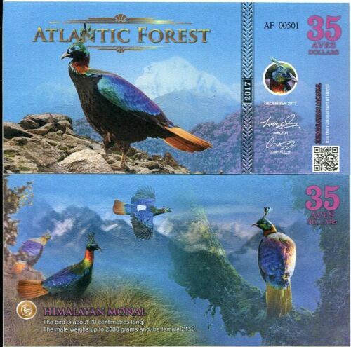 ATLANTIC FOREST 35 AVES DOLLARS HIMALAYAN MONAL 2017 LOT 100 PCS
