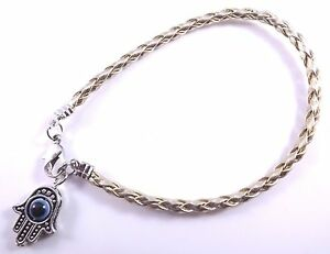 Hamsa-Gold-Leather-Bracelet-Evil-Eye-Kabbalah-Hand-Of-Fatima-Amulet-Charm-Silver