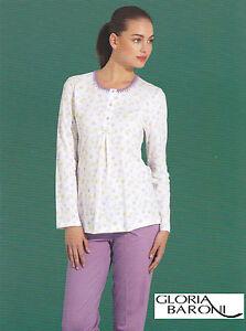 Women-039-s-pajamas-long-Serafino-GLORIA-BARONI-74655-Jersey-printed-100-Cotton