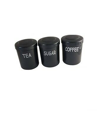 Plastic Tea Coffee Sugar Jars Canisters Kitchen Storage Camping Caravan Black