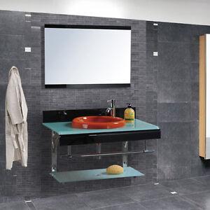 Mobile arredo bagno completo pensile 80cm vetro lavabo specchio rubinetto italia ebay - Mobile bagno completo ...