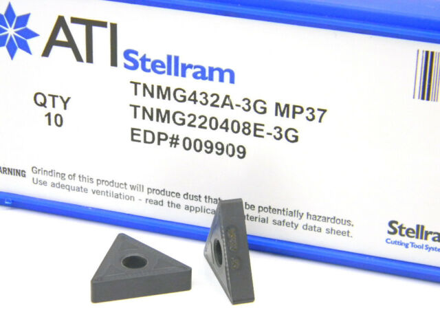 10 NEW SURPLUS STELLRAM TNMG-432A-3G CARBIDE INSERTS MP37 TNMG-432