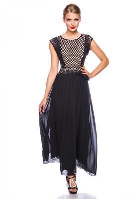 kleid maxikleid abendkleid schwarz/beige kontrastfarbig unterlegt stickerei  ebay
