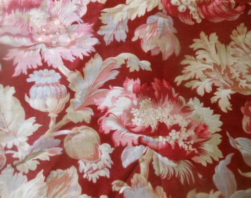Antique French Poppy Tulip Botanical Floral Cotton Fabric ~ Burgundy Wine Rose