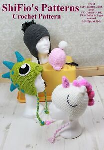 CROCHET-PATTERN-BABY-CHILD-ADULT-HAT-UNICORN-DINOSAUR-4-SIZES-361-NOT-CLOTHES