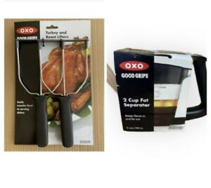 OXO Good Grips Stainless Steel Turkey and Roast Lifters And 2 Cup Fat Separator