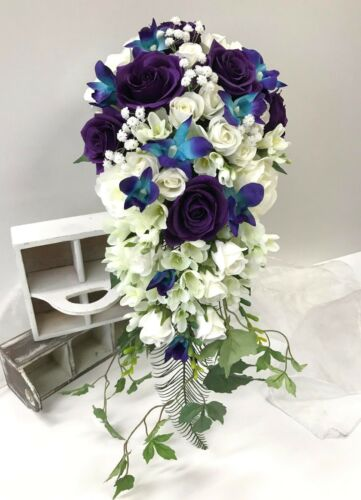 Silk wedding bouquet white roses blue orchids purple rose rdrop cascading