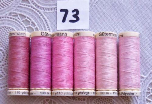 #73 6 light pink colors GUTERMANN 100/% polyester thread 110 yards each spool