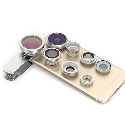 8in1 Clip-On Super Fisheye+Wide Angle+Macro Camera Lens for iPhone 6S 6S Plus