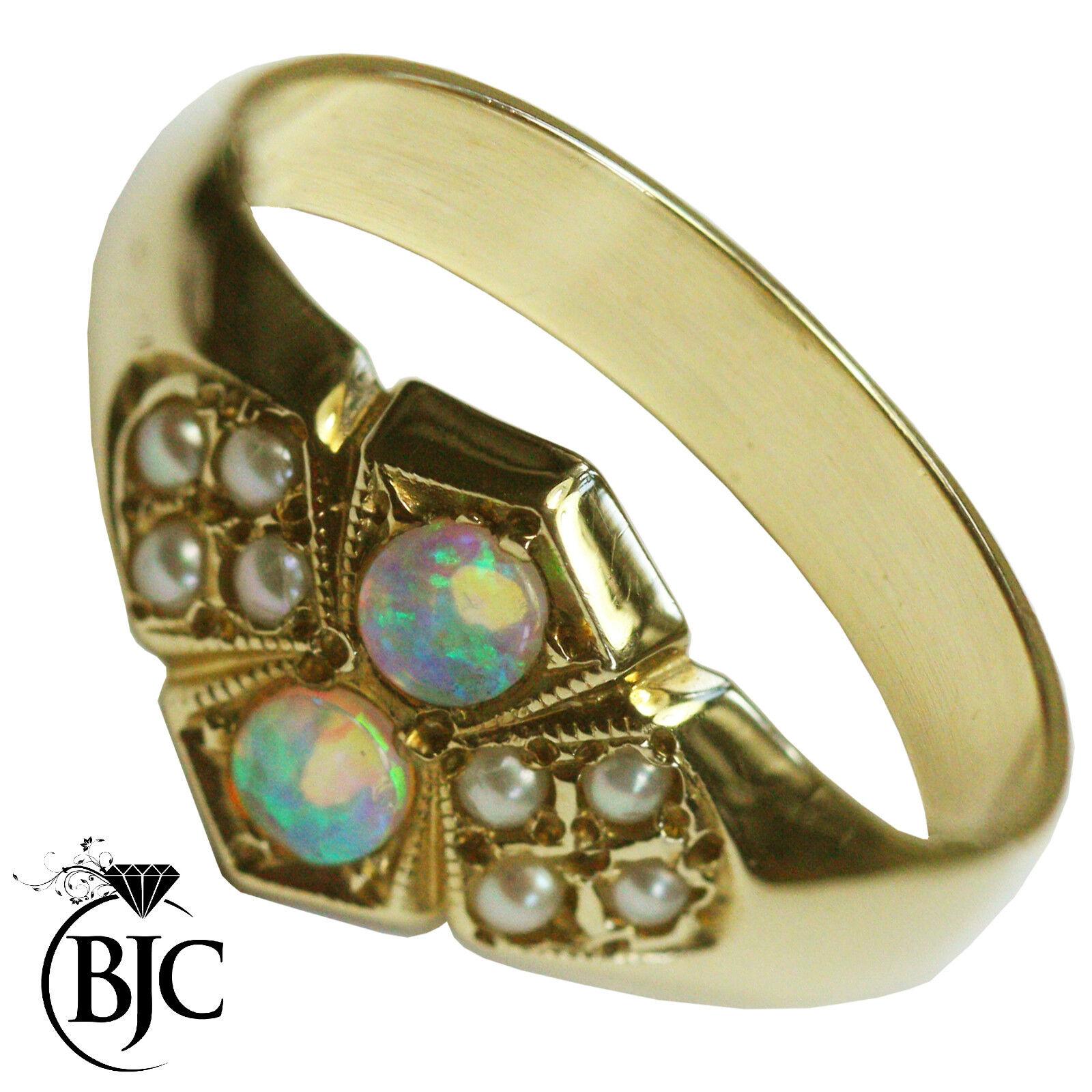 Bjc 9kt gold yellow Naturale Opale & Perla TAGLIA M Stile Gotico Abito Anello