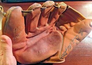 """Enos Slaughter """"Country"""" Vtg Split Finger Signed Auto Baseball Glove JSA COA HOF"""