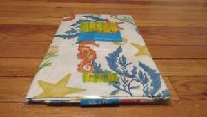 Vinyl-Tablecloth-Flannel-Back-Sea-Horses-Star-Fish-Coral-Blue-Orange-2-Sizes-NEW