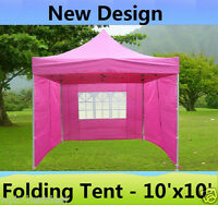 10' X 10' Pop Up Canopy Party Tent Gazebo Ez - Pink - E Model