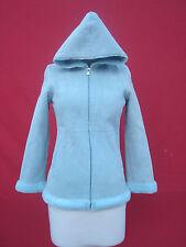 UGG Light Blue Genuine Suede Leather Women Girls Hooded Jacket Coat 12 years XXS