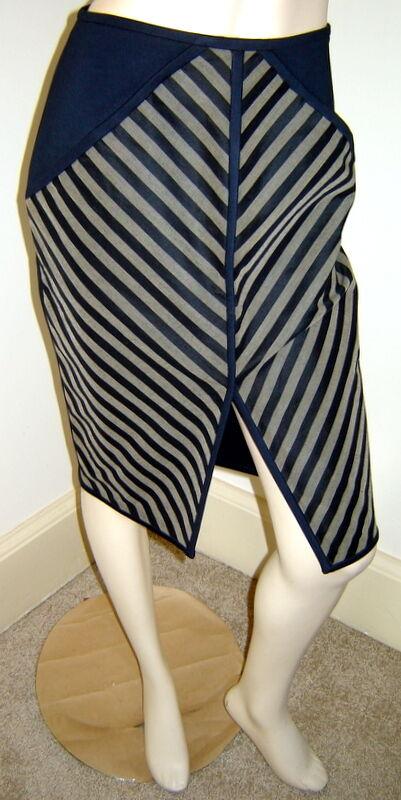 OBAKKI Navy bluee Beige Stripe Slim Stretch Pencil Skirt w  Front Slit (4) NEW