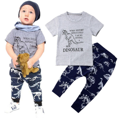 USA Fashion Dinosaur Kids Baby Boys Top T-shirt Pants Leggings Outfits Clothes