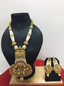 Indian-Ethnic-Bollywood-Gold-Plated-Kundan-Pearl-Fashion-Jewelry-Necklace-Set