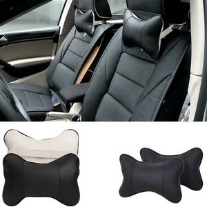 2X-CAR-TRAVEL-PILLOW-HEADREST-SEAT-CUSION-PAD-NECK-HEAD-REST-SUPPORT-BLACK-GRAY