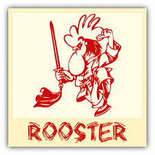"Rooster Chinese Zodiac Sheng Xiao Humor Sign Car Bumper Sticker Decal 5"" x 5"""