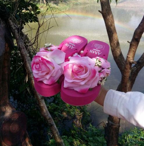 Women Rose Flower Pearls Summer Beach Flip Flops Creepers Sandals Slippers Shoes