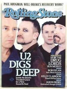 ROLLING STONE MAGAZINE ISSUE 1074 U2 BONO THE EDGE BOB DYLAN CLARKSON MARCH 2009
