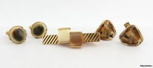 Cuff-Links-amp-Tie-Bar-Set-Agate-Stone-amp-Resin-Natural-Look-Estate-Men-039-s-Fashion