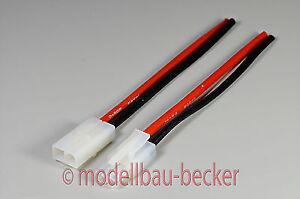 1-Paar-Crimpverbinder-Stecker-Buchse-weiss-mit-Kabel-10-cm-Tamiya-kompatibel