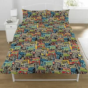 DOCTOR WHO COMICS DOUBLE DUVET COVER AND PILLOWCASE SET OFFICIAL